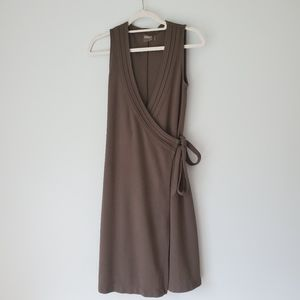 Athleta | Sleeveless Earthy Olive Green Wrap Dress
